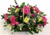 Pink and YellowBasket Arrangement